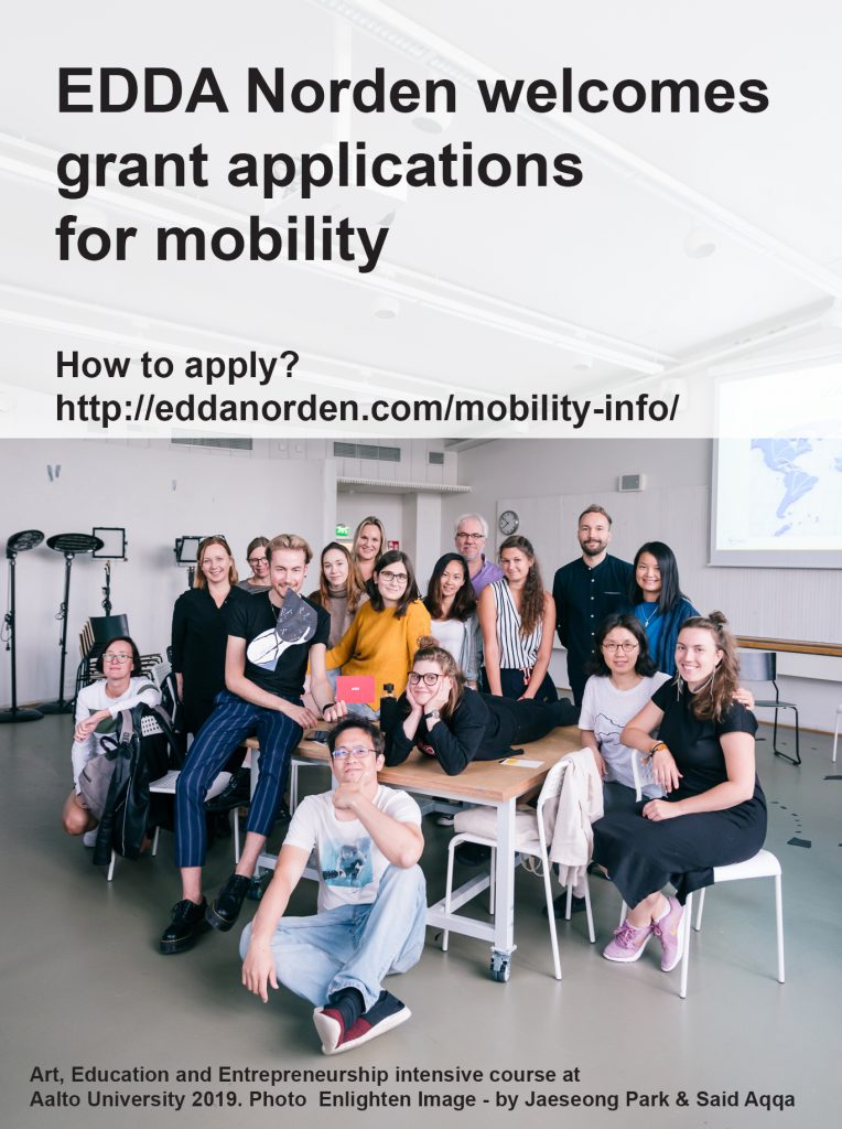 Advertisement poster for mobility grants including group photo of university students and teachers