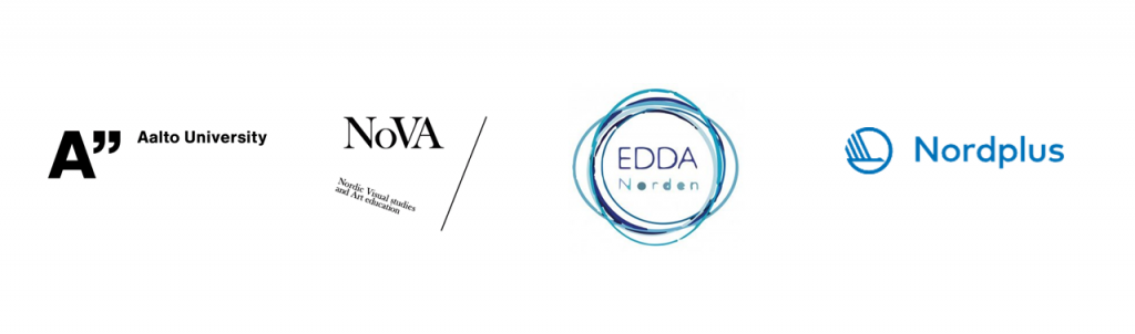 Logos of Aalto University, Nordic Visual Studies and Art education (NoVA), Edda Norden and Nordplus.