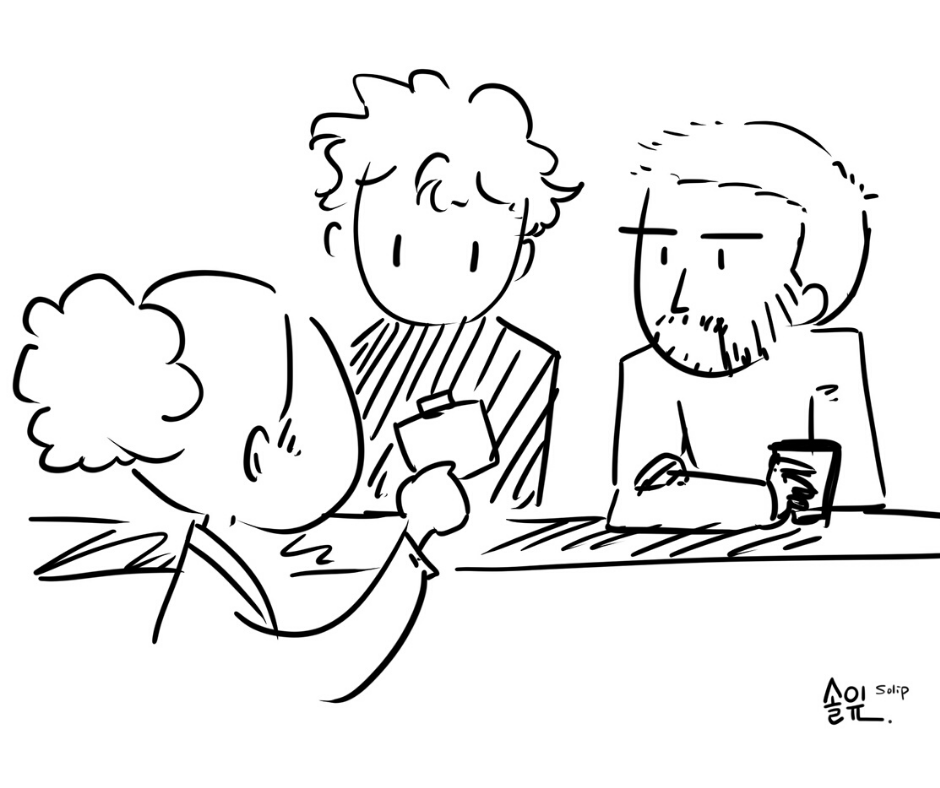 Illustration of seminar visitors when doing a group work