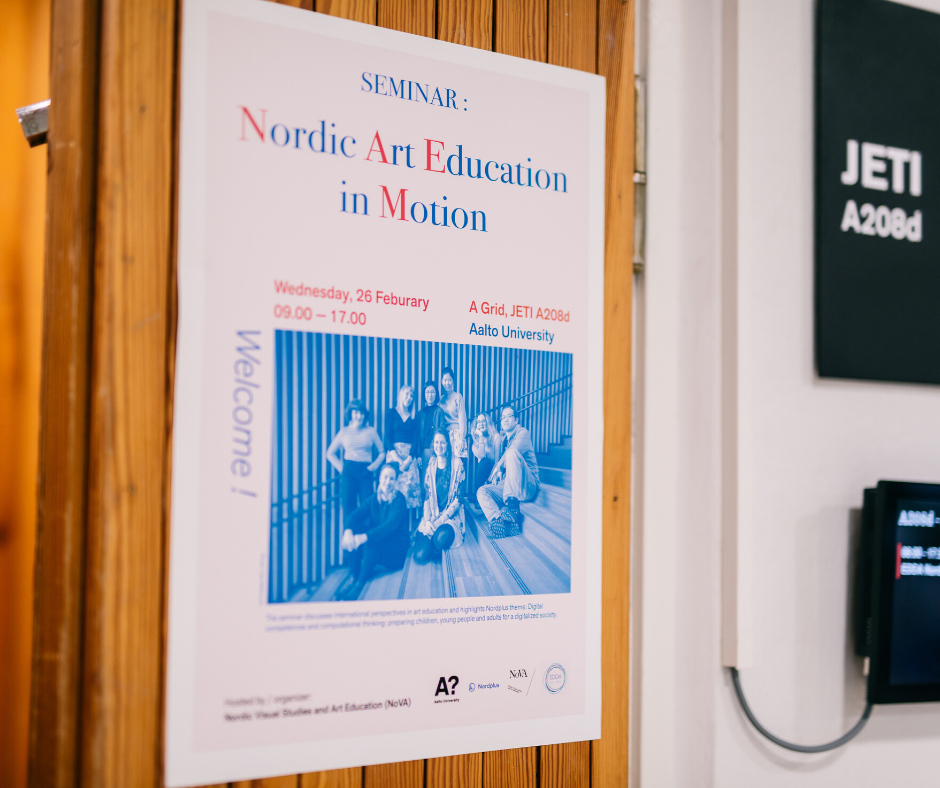 A seminar poster for the event titled Nordic Art Education in Motion