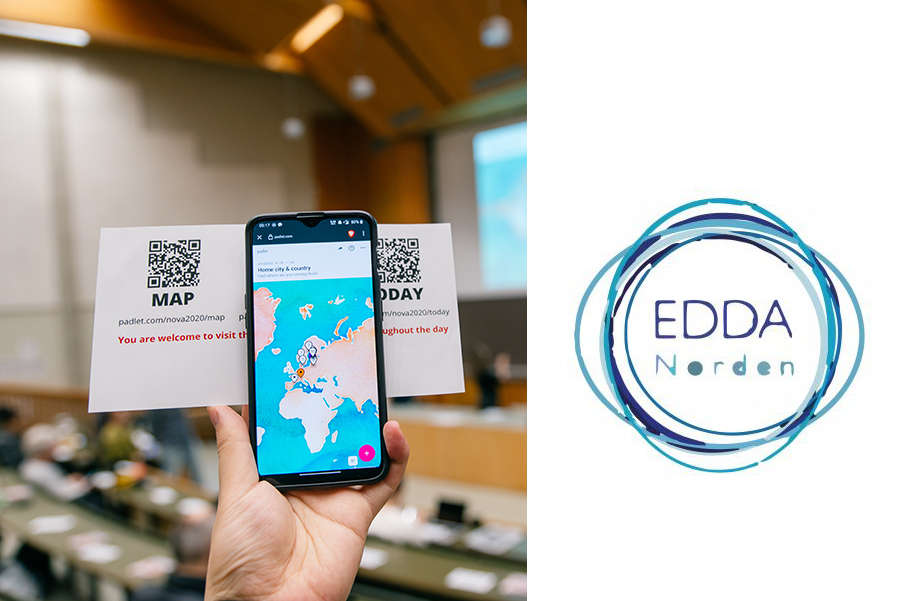 Photo of smartphone screen with a maps of the world and Edda Norden logo